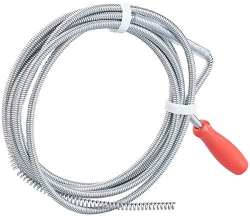 AGT Abflussreiniger Spirale: Rohrreinigungs-Spirale für Waschbecken, Dusch- & Badewanne, 3m, Ø 6mm (Rohrreinigungsspirale)