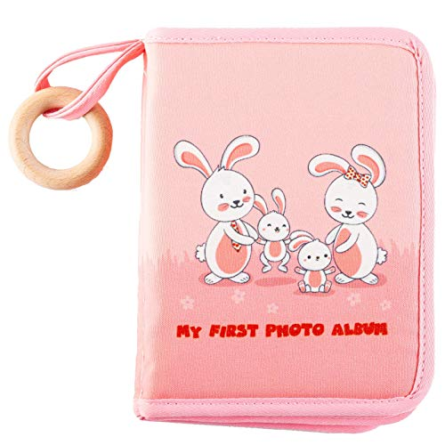 Babys First Photo Album - The Plush Cloth on Our Baby Soft Photo Album Makes The Soft Photo Book Safe for Babys - Drool Proof Pages Protect Photos in Your Cloth Photo Album for Babies (Pink Bunnies)