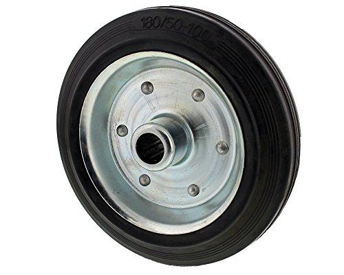 The Drive -16520-0180- Vollgummi Reifen auf Stahlfelge Stahlblechfelge für Stützrad (180 x 48 mm)