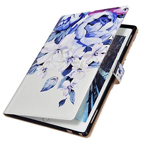 MoreChioce compatible avec Coque Samsung Galaxy Tab A 10.1 2019 T510/T515 Antichoc Étui en Cuir Housse de Protection Smart Cover Stand Flip Tablette Case Portefeuille avec Support,Fleur Bleu
