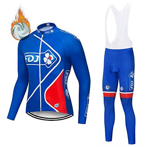 VFGSB Completo Abbigliamento Ciclismo da Uomo, Invernale Tuta Maglia Ciclismo Maniche Lunga + Pantaloni Lunghi da Bicicletta con Gel Pad 3D