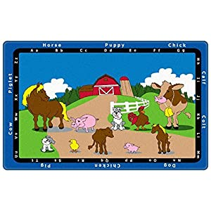 Animal Match Kids Rugs Area Rug 7'6″x12′