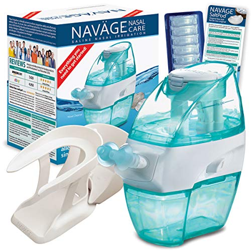 Navage Nasal Hygiene Essentials Bundle: Navage Nose Cleaner, 40 SaltPod Capsules, and Countertop Caddy. 126.90 if Purchased Separately, You Save 26.95. for Improved Nasal Hygiene.