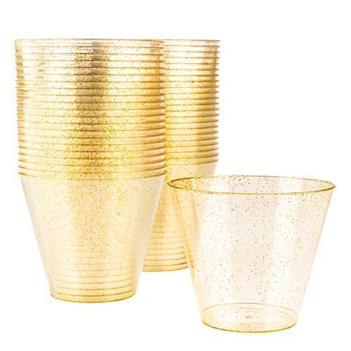 Matana 60 Gobelets de Fête en Plastique Dur avec Paillettes Dorées - 270ml