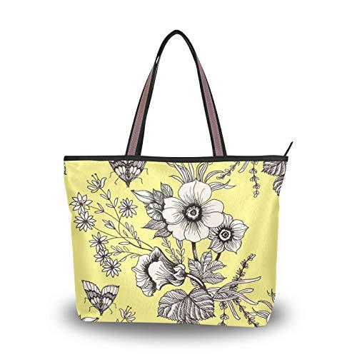 NaiiaN Geldbörse Einkaufen Gelbe Kunst Frühling Wildblume Schmetterling Handtaschen Einkaufstasche Leichter Gurt Umhängetaschen Für Frauen Mädchen Damen Student