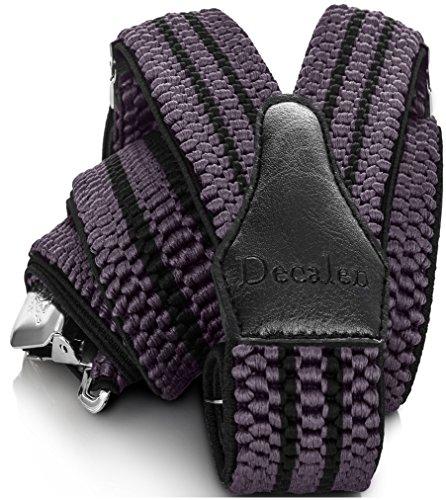 Decalen Tirantes para caballero con clips extra fuerte amplio 40 mm Adjustable Elastics Y forma (Gris Negro)