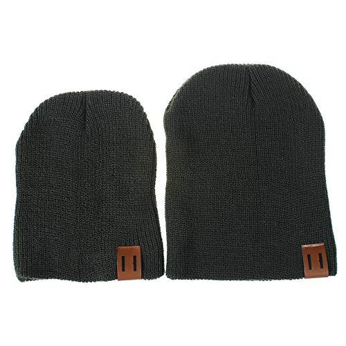 2 Stück Pom Mütze Deckel, Quaan Mama und ich Solide Farbe Häkeln Stricken Winter Warm Hut