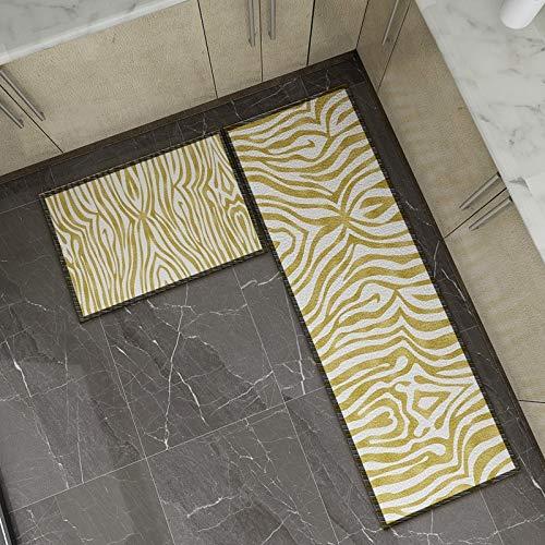 OPLJ Moderne gestreifte Gitterdrucktürmatte Rutschfester Küchenteppich Badbodenmatte Bodenmatte Waschmatte A5 40x60cm
