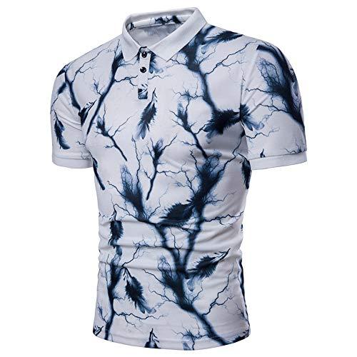 Camisa Hombre Verano Casual Hombre Tradicional Camisa Personalidad Impresión Manga Corta Deportiva Camisa Moderna Ajustado Urbanos Negocios Casual Golf Hombre Polo Shirt A-White M