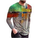 Xmiral T-Shirt Uomo Top Camicetta Folk Personalizzata a Maniche Lunghe Casual Stampata Vintage (L,1Multicolore)