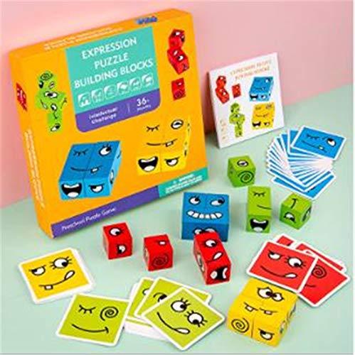 XIUNPR-6 Holzpuzzle Lustiges Ausdruckspuzzle Bunte Zauberwürfel-Bausteine Interaktionsspielzeug Holzblöcke für Kinder