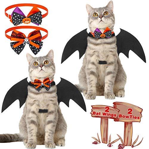 Paquete de 2 alas de murciélago de gato y collar de gato de Halloween con lazos, accesorios de vestir para mascotas y disfraz de gato para decoración de fiesta de Halloween
