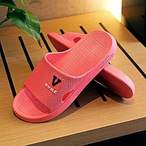 liangchenjingpin Playa Zapatillas,Ladies De Verano Antideslizante Resuelto De ResolucióN Gruesa, BañO De BañO De BañO, Sandalias Y Zapatillas De Masaje De JardíN Al Aire Libre Rojo 39