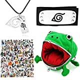 103 Pcs Naruto Headband Necklace Anime Stickers Frog Wallet For Birthday Anime Cosplay Ninja Themed Party Gifts