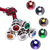 mxuteuk 5 Pcs 12V-24V 12mm 1/2' LED Metal Indicator Light Waterproof Signal Lamp Red Yellow Blue Green White with Wire for Car Truck Boat DQ12P-12V