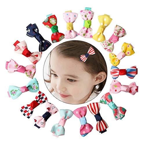 nuoshen 40 Stücke Baby Haarclips, Haarspange Haarschleifen Mädchen Kinder schleife Haarklemme für Mädchen Baby(Mehrfarbig)