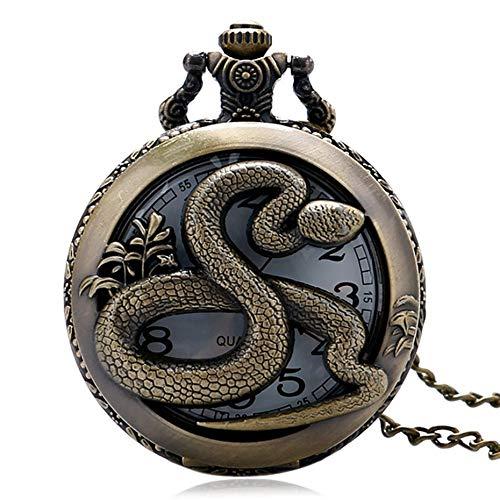 WOAIXI Retro Taschenuhr,Retro Bronze Chinesische Sternzeichen Schlange Tasche Uhr Anhänger Tier Uhr Hohle Halskette Kette Kunst Sammler Geschenke Gedenkgeschenk