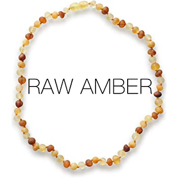 Meraki Amber Necklace - Raw Unpolished Baroque Baltic Amber Necklace | Alternative Pain Relief - Certified Genuine Baltic Amber Necklace | Cognac/Honey/Lemon Color (12.5 Inches)