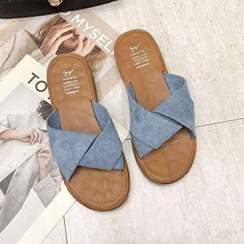 QXbecky Zapatillas Cruzadas para Mujer, Ropa Exterior de Verano, Ropa Exterior de Moda, Zapatillas de Playa, Zapatillas Planas