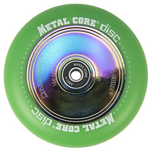 Metal Core Rueda Disc para Scooter Freestyle, Diámetro 100 mm (Verde)
