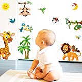 Animals Wall Stickers for Kids - Baby Room Decor Wall Sticker Toddlers Bedroom Decals Learning Removable Sticker Nursery Wall Décor Ocean Sea Animal Decals for Children Study Room Decoration