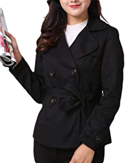 Womens Casual Lapel Double Breasted Trench Coat Short Jacket