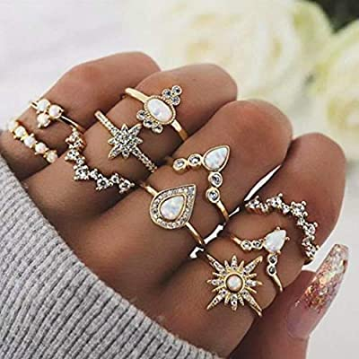 Barode Boho Joint Knuckle Rings Set Gold Multi Size Vintage Finger Ring Set Rhinestones Stackable Hand Jewelry for Women and Girls (10Pcs)