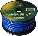 Harmony Audio HA-PW12BLUE Primary Single Conductor 12 Gauge Blue Power or Ground Wire Roll 100 Feet Cable for Car Audio/Trailer/Model Train/Remote