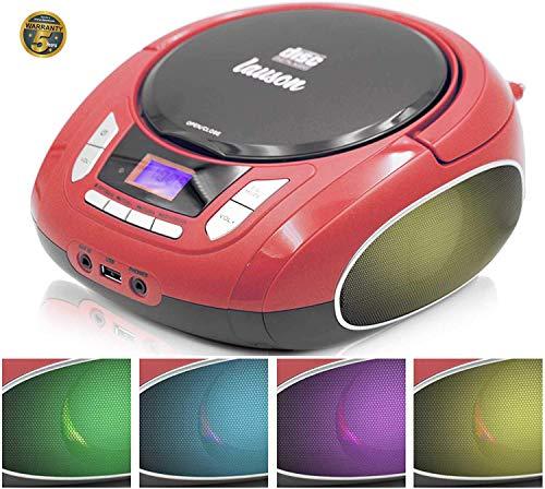 Lauson NXT962 Draagbare CD-Speler met meerkleurige LED-Verlichting Geïntegreerde Luidsprekers | Boombox Digitale FM-radio en LCD-Scherm | USB-lezer met MP3-Muziekspeler | CD-Speler voor Kinderen, met AUX-Out / Hoofdtelefoonuitgang (Rood)