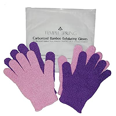 Bamboo Exfoliating Wash Gloves, 2 pairs, Exfoliator mitts, Bath/shower scrub, Body exfoliation hand mitten, Beauty scrubs/loofah, Ingrown hair/dead skin remover, Scratching eco microfibre, Natural from Temple Spring