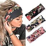 Zoestar Boho entrecruzados de estilo floral impreso para la cabeza envuelta turbante bufanda de pelo elegante banda elástica para el pelo para mujeres y niñas (paquete de 3)