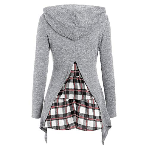 CixNy Damen Kapuzenpullover Unregelmäßiger Saum Langarm Pullover Fliesen Patchwork Hooded Top...