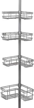 Zenna Home Pole Shower Caddy, Satin Nickel (9 x 12.25 x 97 inches)