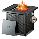 Propane Fire Pit Table, Outdoor Companion,28 Inch 50,000 BTU Auto-Ignition Gas Fire Pit Table with lid, ETL Certification and Strong Striped Steel Surface, Table in Summer, Pit in Winter