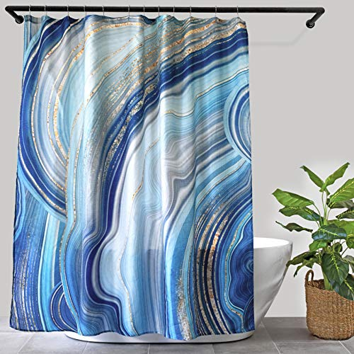 """Luxury Blue Marble Shower Curtain with Gold Specks, with 12 Roller Hooks, Modern Ocean Print with Waffle Texture, Spa Hotel Quality, 72"""" x 72"""" for Decorative Elegant Bathroom Curtains"""