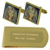 Select Gifts Niño Rey Egipto Tono Oro Gemelos Money Clip Grabado Set de Regalo