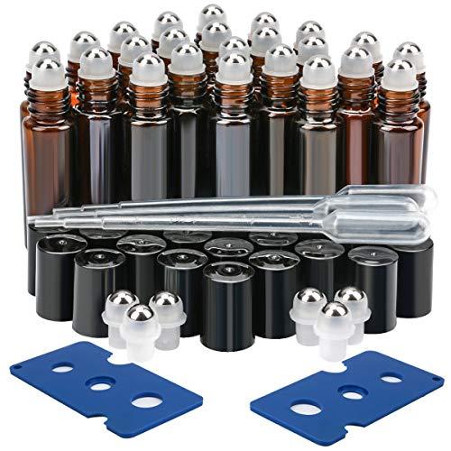 Glass Roller Bottles, 24 Pack 10 ml Amber Essential Oil Roller Bottles with Stainless Steel Roller Balls (3 Dropper, 6 Extra Roller Balls, 2 Bottle Opener)