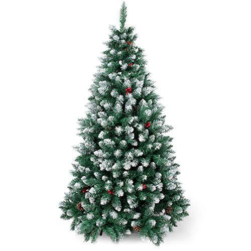 Sunjas Weihnachtsbaum künstlich, 120/150/180/210 cm Tannenbaum mit Schnee-Effekt, mit Tannenzapfen und rote Beere Deko, beschneiten Spitzen und Kunsttanne, inkl. Metallständer (180cm)