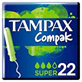 Tampax Compak Super Tampones Con Aplicador, Protección Antimanchas Y Discreción, Limpieza - 22 Unidades