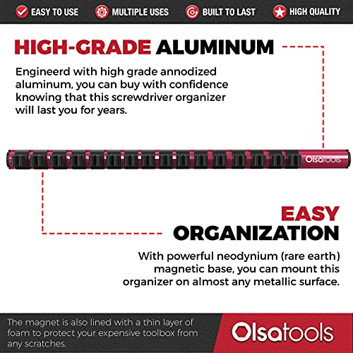 Olsa Tools Magnetic Screwdriver Organizer   Professional Quality Tool Holder   Fits up to 16 Screwdrivers   Red