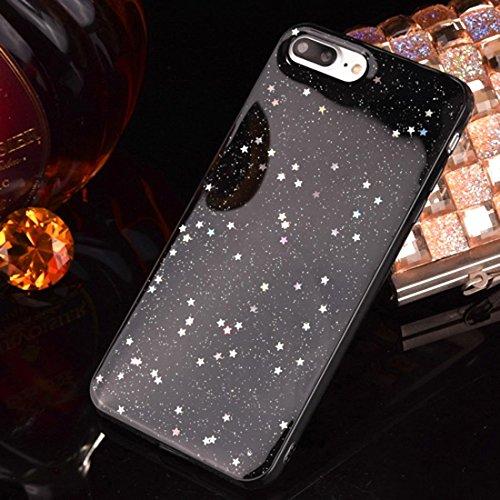 Wdckxy Funda para iPhone 8 Plus y 7 Plus epoxi goteo negro estrellado suave TPU cubierta trasera (color: color1)