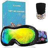 Zacro Gafas Esquí Snowboard para Niño Joven, con Máscara Esquí y Bolsa Portable,OTG 100% UV400 Protección Gafas de Esquí,Antideslizante,Anti-Niebla y Anti-Nieve,Negro