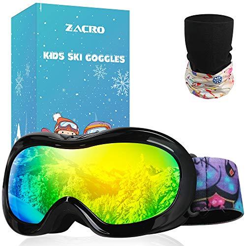 Zacro Kinder Skibrille, Anti Fog und Anti UV Snowboardbrille, OTG-Design mit Anti Rutsch Tape, Inklusive Skimaske und Tragetasche (Schwarz)