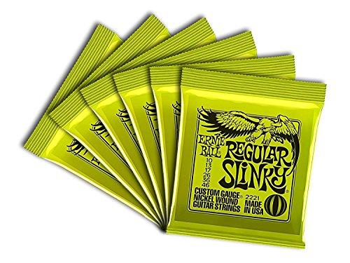 Ernie Ball Regular Slinky Custom Gauge Nickel Wound Guitar String - Set.010 - .046 (6 Pack)