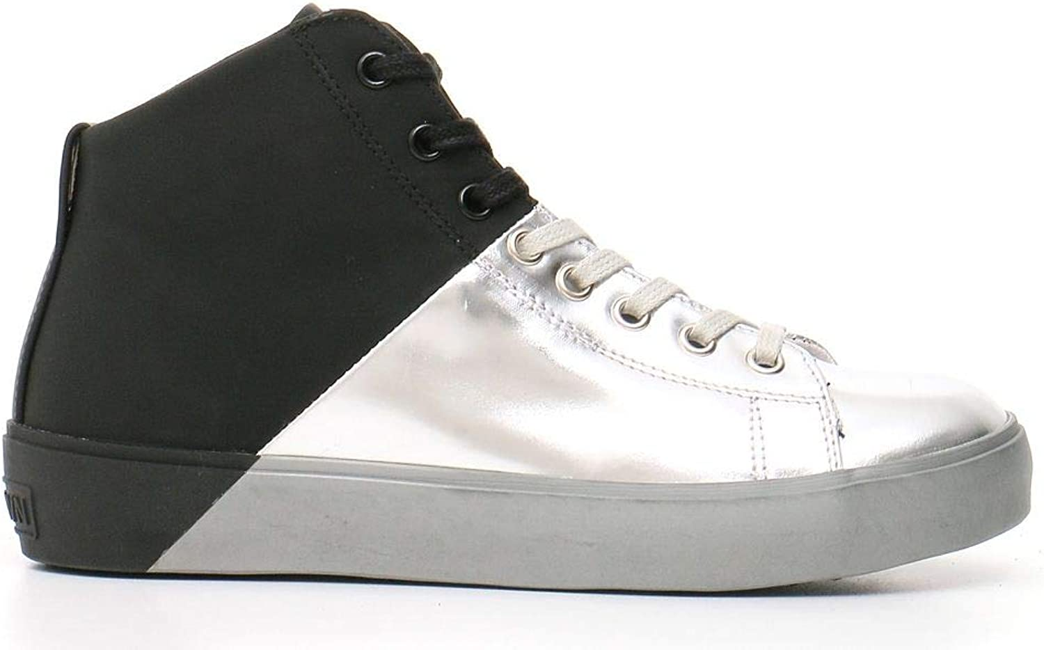 LEATHER CROWN Women's MCBI22681 Silver Leather Hi Top Sneakers