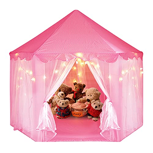 GSBLUNIE Princess Castle Play Tent for Girls, Kids Playhouse with Star String Lights, Little Girls Play Tent for Children Indoor and Outdoor Games 55'' x 53'' Pink
