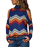 YOINS Women Cold Shoulder Turtle Neck Tops Long Sleeve Geometric Stripe Casual Loose Blouse Tee Pullover A-blue XL