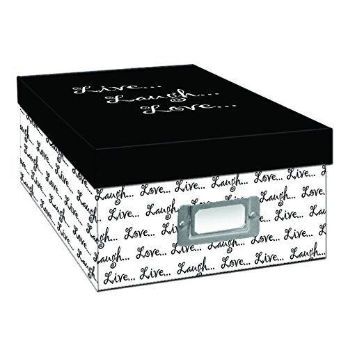 2PO Heavy-Duty Photo/Video Storage Box, Live Laugh Love Design