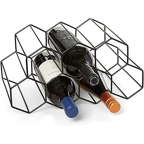 DKBE Estante de Vino, Soporte de Almacenamiento de Vino de 7 Botellas, sin Necesidad de ensamblaje, Estante Moderno de Vino de Metal Negro, Protector de encimera de Protector de Espacio