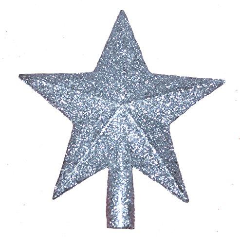 warenplus2014 2er Set Christbaumsterne in Silber, glänzend